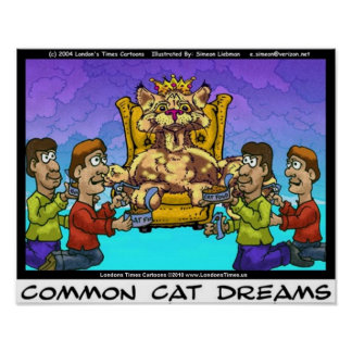 Common Cat Dreams Funny Collectible Art Poster