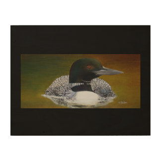 Common Loon On Wood With Black Wood Wall Art