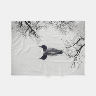 Common Loon Swims in a Northern Lake in Winter Fleece Blanket