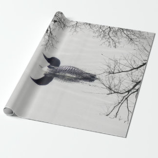 Common Loon Swims in a Northern Lake in Winter Wrapping Paper