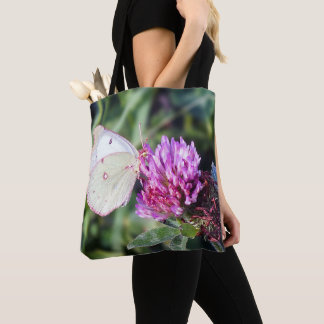 Common Sulfhur Butterfly on Red Clover Tote Bag