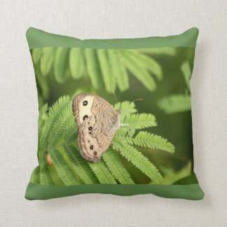 Common Wood Nymph Butterfly on Mimosa Throw Pillow