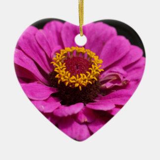 Common zinnia (Zinnia elegans) Ceramic Heart Decoration