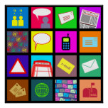 Communication Tile Wallpaper Posters