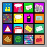 Communication Tile Wallpaper Posters
