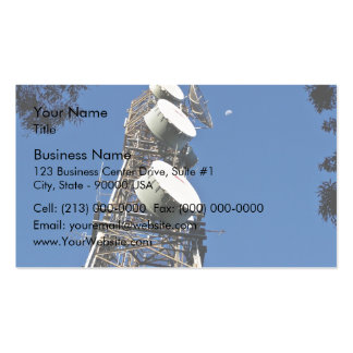 Communications tower with a beautiful blue sky business card