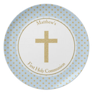Communion Blue with Gold Polka Dots Party Plate