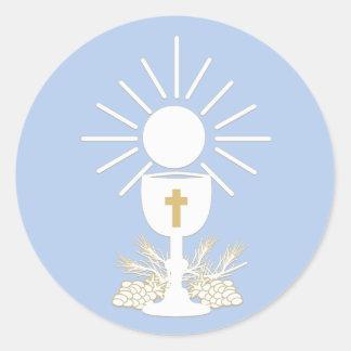 Communion Chalice, Choose Background Color Classic Round Sticker