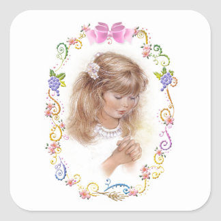 Communion, confirmation girl with flowers square sticker