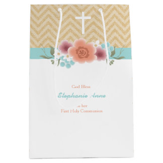 Communion Floral Swag in Gold and Aqua Medium Gift Bag