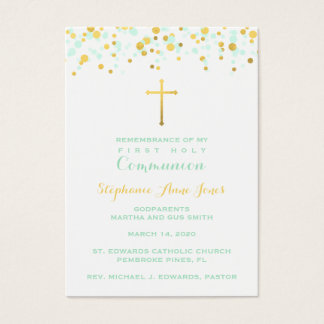 Communion Mint and Gold Confetti Business Card