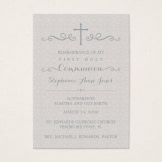 Communion Ornate Cross in Taupe Floral Pattern Business Card