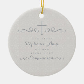 Communion Ornate Cross in Taupe Floral Pattern Round Ceramic Decoration