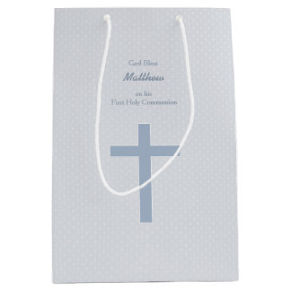 Communion Pastel Blue Cross Medium Gift Bag