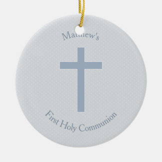 Communion Pastel Blue Cross Round Ceramic Decoration