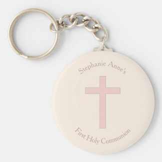 Communion Pastel Pink Cross Basic Round Button Key Ring