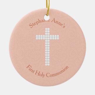 Communion Peach Vines and Stripes Ceramic Ornament