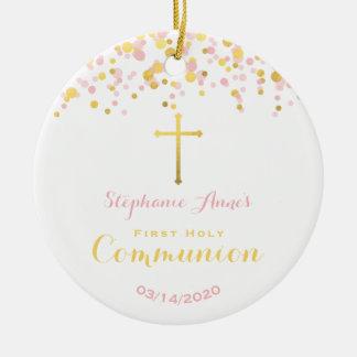 Communion Pink and Gold Confetti Ceramic Ornament