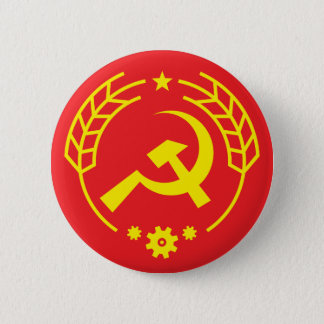 Communist Hammer & Sickle Gear Badge Button