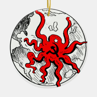 Communist Octopus Round Ceramic Decoration