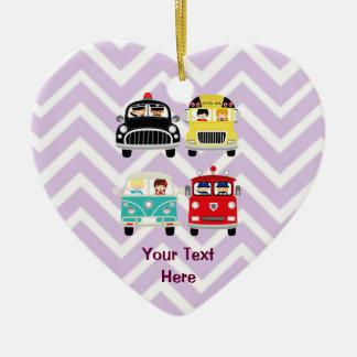 Community Firetrucks Vehicles Cars on Chevron Ceramic Heart Decoration