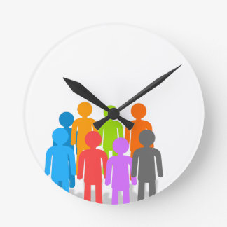 Community of people round clock