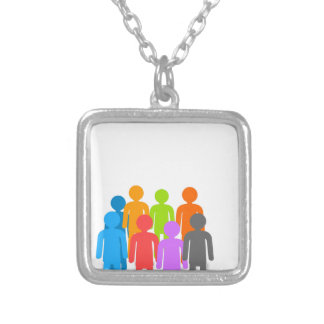 Community of people silver plated necklace