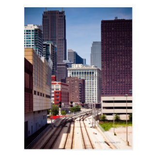 Commuter rail tracks lead into Downtown Chicago Postcard