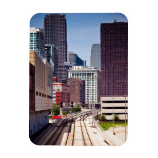 Commuter rail tracks lead into Downtown Chicago Rectangular Photo Magnet