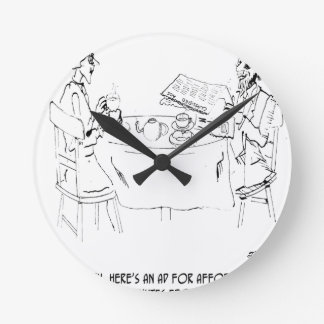 Commuting Cartoon 1098 Round Clock