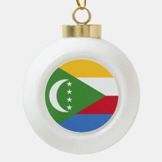 Comoros Flag Ceramic Ball Christmas Ornament