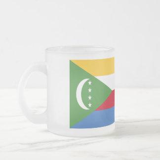 Comoros Flag Frosted Glass Coffee Mug