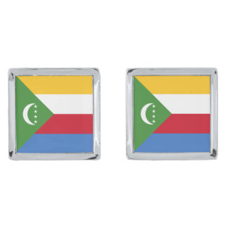 Comoros Flag Silver Finish Cufflinks
