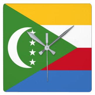 Comoros Flag Square Wall Clock