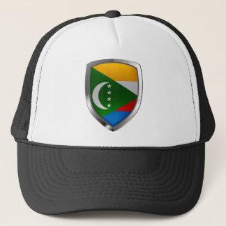 Comoros Mettalic Emblem Trucker Hat