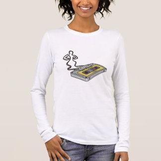 Compact Cassette Tape Man Dancing Mono Line Long Sleeve T-Shirt