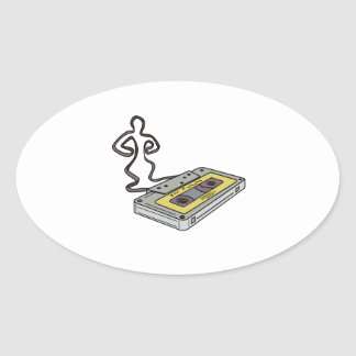 Compact Cassette Tape Man Dancing Mono Line Oval Sticker