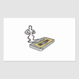 Compact Cassette Tape Man Dancing Mono Line Rectangular Sticker