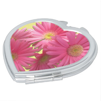 Compact - Dark Pink Gerbera Daisies Makeup Mirrors