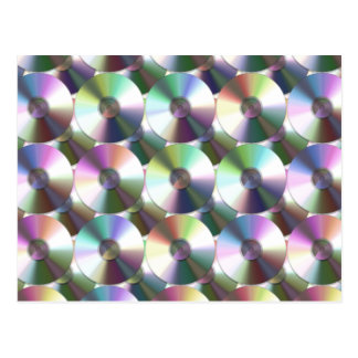 Compact Disc Rainbow Reflective Pattern Postcard