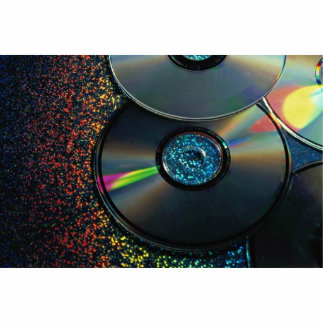 compact disks reflecting colors standing photo sculpture