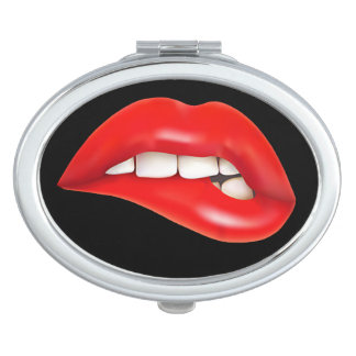 Compact graphic design of teeth biting lip mirror for makeup