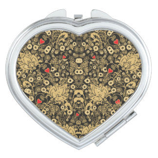 COMPACT MIRROR CHARMING FLORAL HEARTS AND PAISLEY