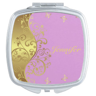 Compact Mirror--Gold Swirls & Pink Compact Mirror
