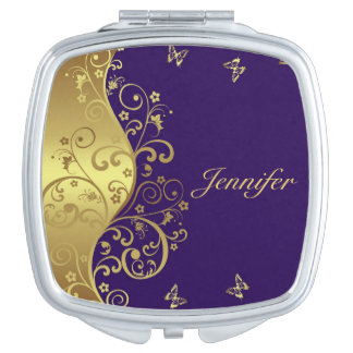 Compact Mirror-- Gold Swirls & Purple Vanity Mirror