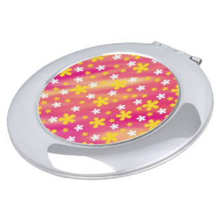 Compact mirror pink yellow white flowers girly