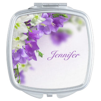 Compact Mirror--Purple Flowers-Vertical Vanity Mirror