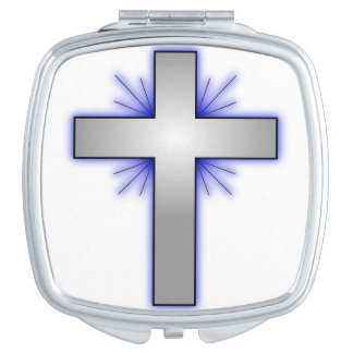 Compact Mirror with Blue-flared Cross