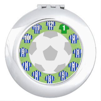 Compact Mirror with Blue & White Sport Shirts