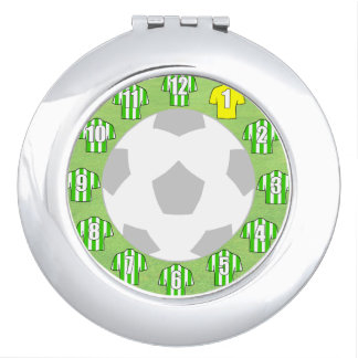 Compact Mirror with Green & White Sport Shirts